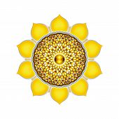 stock photo of plexus  - Illustration of a yellow solar plexus chakra mandala - JPG
