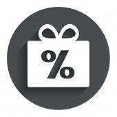 Gift box sign discount icon. Present symbol.