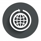Globe sign icon. Round the world arrow symbol.