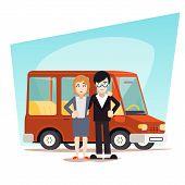Retro Cartoon Family with Car Travel Van Icon Modern Design Stylish Background Vector Illustration