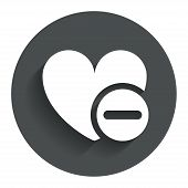 Heart sign icon. Remove lover symbol.