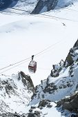 CHAMONIX, FRANCE - SEPTEMBER 02: Aiguille du Midi cable car. The cable car is the highest in Europe, and offers close views of the Mont Blanc summit. September 02, 2014 in Chamonix.