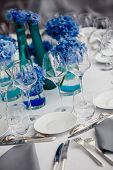 Wedding table setting in restaurant
