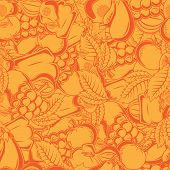Seamless pattern with autumn fruits and leaves.