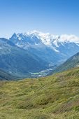 French countryside with Mont Blanc mountain range in the background