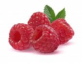 Four Raspberries Isolated On White Background