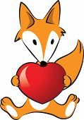 Fox holding a heart shape