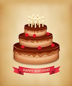 Background with birthday chocolate cake. Vector.