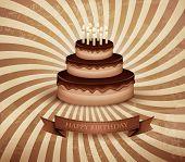 Retro background with birthday chocolate cake. Vector.