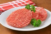 raw hamburger patties with parsley on white plate and wooden table