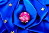 Beautiful Silk Wavy Fabric Blue With Pink Sphere And Gold Stars