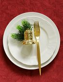 Christmas table setting with festive decorations
