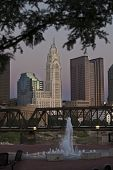 Twilight view of Columbus, Ohio featuring the historic Leveque Tower.