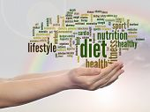 Concept or conceptual abstract diet and health word cloud man hand, rainbow sky background