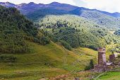 Beautiful view of alpine meadows. Upper Svaneti, Georgia, Europe. Caucasus mountains.