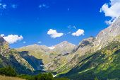 Beautiful view of alpine meadows. Upper Svaneti, Georgia, Europe. Caucasus mountains.
