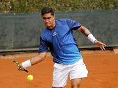BARCELONA - 22: Argentinian tennis player Facundo Arguello in action during a match of Barcelona ten