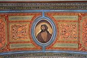 TRAVNIK, BOSNIA AND HERZEGOVINA - JUNE 11: Christ's head with a crown of thorns, fresco on the ceiling of the church of St. Aloysius in Travnik, Bosnia and Herzegovina on June 11, 2014.