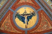 TRAVNIK, BOSNIA AND HERZEGOVINA - JUNE 11: Crucifixion, fresco on the ceiling of the church of St. Aloysius in Travnik, Bosnia and Herzegovina on June 11, 2014.