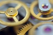 Background With Metal Cogwheels A Clockwork.  For Your Successful Business Design. Macro.