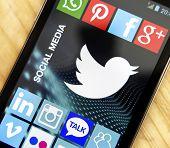 Belgrade - April 20, 2014 Logo Of Popular Social Media Website Twitter On Smart Phone Screen