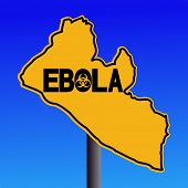 Danger Ebola biohazard Liberia map sign on blue illustration