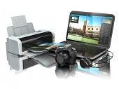 Laptop, photo camera and printer. Preparing images for print. 3d