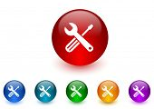 tools internet icons colorful set