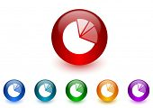 diagram internet icons colorful set