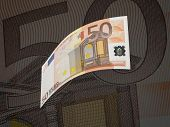 Fifty Euro Bill Collage With Warm Tone