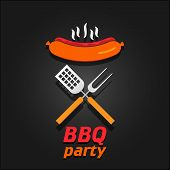 BBQ party invitation. Vector illustration poster