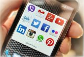 Belgrade - March 07, 2014: Popular Social Media Icons On Smartphone Screen