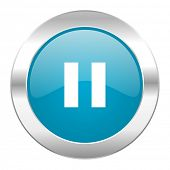 pause internet blue icon