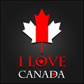 I love Canada sign and labels on maple leaf flag