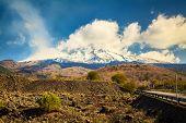 Snowy Volcano Etna Smoking