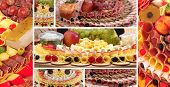 Display with ham,cheese and fruits