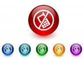 no phone internet icons colorful set