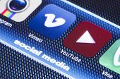 Belgrade - July 11, 2014 Popular Social Media Icons Vimeo Youtube And Other On Smart Phone Screen Cl