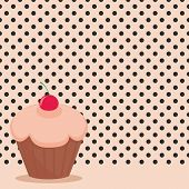 Cherry cupcake on black polka dots pink background vector illustration