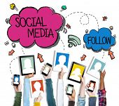 Group of Hands Holding Digital Devices with Social Media Concept