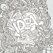 Idea hand lettering and doodles elements background