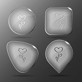 Flower-heart. Glass buttons. Vector illustration.