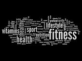 High resolution concept or conceptual abstract fitness and health word cloud or wordcloud on black b