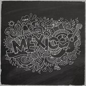 Mexico doodles elements chalkboard background