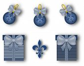 Christmas Decoration Set With Fleur De Lis Motif