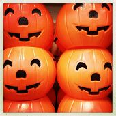 Instagram filtered image of plastic Halloween pumpkins