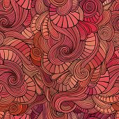Vector waves decorative doodles seamless pattern