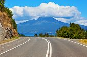 Scenic highway in South America - Carretera Austral. The road leads to the famous volcano Osorno. To