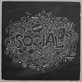 Social Vector hand lettering and doodles elements