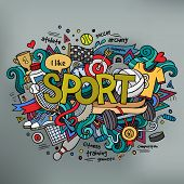 Sport hand lettering and doodles elements background